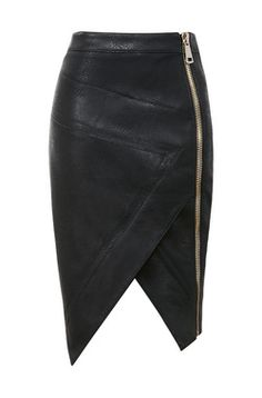 Floria Black Vegan Leather Assymetric Skirt