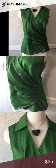 Gorgeous Kelly Green Wrap Blouse Large Sleeveless Excellent condition. Collared. Large. Stretch Jones New York Tops Blouses