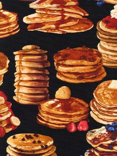 NEW Breakfast Pancakes on Black Fabric  By the by luckykaerufabric, $8.50