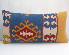 Yellow & Blue Kilim Pillow lumbar with ethnic pattern cm Kilim Pillows, Cushions, Ethnic Patterns, Crochet Instructions, Bohemian Pillows, Needlepoint, Yellow, Blue, Pillow Cases
