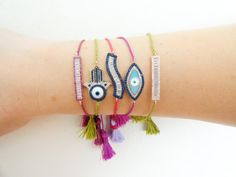 Silver hamsa bracelets, evil eye boho bracelets fatima hand sterling silver bracelet bohemian turkish evil eye 925 silver lucky eye bracelet  These are very a nice bohemian tassel evil eye bracelets in silver 925. They all look very bright in tassels and the charms give these bracelets a wonderful look! Adjustable boho bracelets are great for best friend birthday gift or giving just because!  Thanks for stopping by