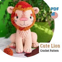 Crochet Animal Patterns, Stuffed Animal Patterns, Diy Stuffed Animals, Crochet Patterns Amigurumi, Amigurumi Toys, Crochet Lion, Crochet Bunny, Pattern Cute, Safari