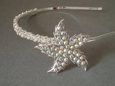Silver Star Bridal Rhinestone Headband with Vintage Jewel. $42.00, via Etsy.