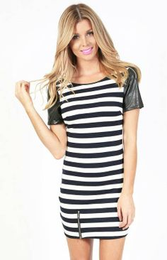 Avril Navy White Stripe Faux Leather Sleeve Dress - $55.00