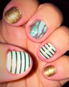 Pump up the Jam #Jamberry : gold sparkle, birds of a feather, and Mint green and gold horizontal pinstripe 1/17/15