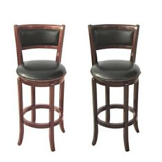 """Espresso or Cherry finish wood swivel bar stool with back 24"""" and 29"""" Seat height.  Comes in Cherry or Espresso finish in your choice of 24""""…"""