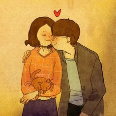 Puuung: Love is something that everybody can relate to. And Love comes in ways that we can easily overlook in our daily lives. So, I try to find the meaning of love in our daily lives and make it into artwork. Love Is Sweet, What Is Love, Cute Love, Couples Comics, Anime Couples, Couple Illustration, Illustration Art, Puuung Love Is, Romantic Gestures