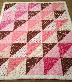 Breast Cancer Fabric Lap Quilt approx size 48 x 57 by wlhquilts, $75.00