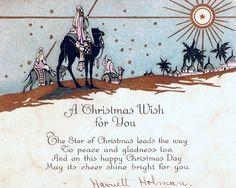Art Deco Christmas Card Wise Men Star of Bethlehem