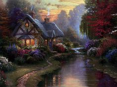 Thomas Kinkade Paintings :  Along the Lighted Path -  Idyllic Cottage by the stream  13