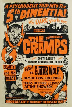 Art Chantry gig poster: The Cramps, Guitar Wolf & Demolition Doll Rods
