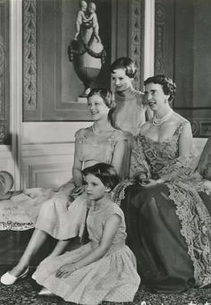 Royal Watcher:  Queen Ingrid of Denmark with her three daughters-Princesses Margrethe, Benedikte (standing), and Anne-Marie