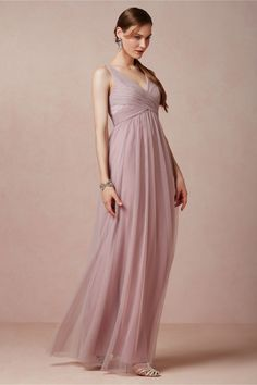Although a different colour would be good, a gorgeous bridesmaids dress, fantastic lines and ruching - Esme Maxi Dress from BHLDN