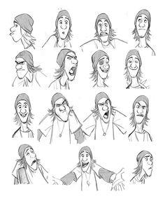 Expressões e poses do personagem Fred,
