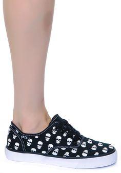 Cute to the Core Menace Skull Polka Sneakers   Dolls Kill