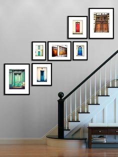 Paris Photography Print Set Parisian Door Wall Art wall decor The Paris Door Series rustic home decor etsy wall decor Paris Prints Wall Collage, Frames On Wall, Wall Art, Picture Frames On The Wall Stairs, Collage Ideas, Picture Wall Staircase, Black Staircase, Stairwell Wall, Small Staircase