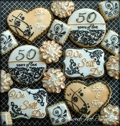 Items similar to Anniversary cookies - wedding anniversary cookies - decorated cookie favors - golden anniversary on Etsy 50th Anniversary Cookies, 60 Wedding Anniversary, Golden Anniversary, Anniversary Parties, Anniversary Ideas, Anniversary Logo, Anniversary Decorations, Square Cookies, Heart Cookies