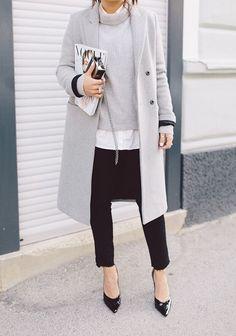 Fresh grey tones street style office fashion