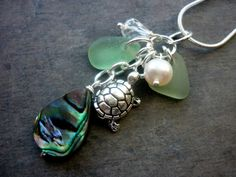 Turtle Sea Glass Necklace Abalone Beach Glass by TheMysticMermaid