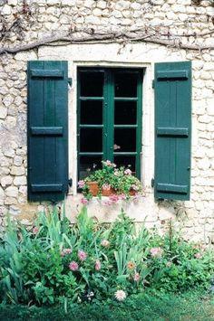 deep turquoise window, shutters by StarMeKitten