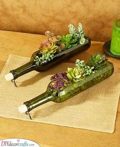 Grow succulents or smaller plants inside of this Set of 2 Wine Bottle Planters. The side of the bottle is cut away so you can plant in it. Comes with a met