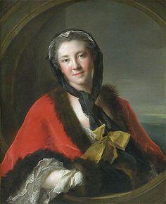 La comtesse Tessin, 1741, Jean-Marc Nattier, 1741, (Paris, musée du Louvre). Le modèle est l'épouse de Charles-Gustave Tessin, ambassadeur de Suède à Paris.