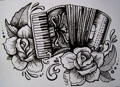 my accordian and roses tatto style illustration