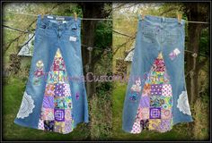 Classic Hippie patchwork Long Jean Skirt by CustomJeanSkirts