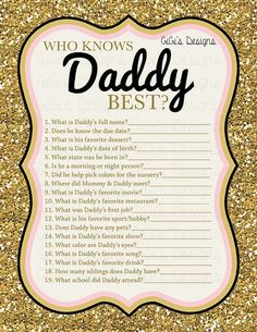Baby shower game Who knows Mommy Daddy best by GiGisDigitalDesigns