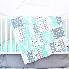 Woodland Crib Bedding - Mint / Gray - Crib Bedding - A Vision to Remember #ragquilt #babyquilt #woodlandnursery