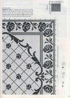 Филейная квадратная скатерть с розами схема 2