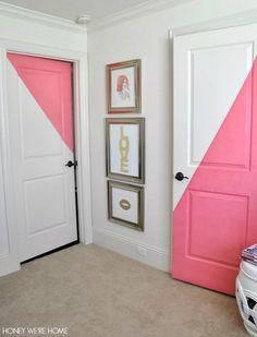 Honey We're Home: Diagonal Painted Office Doors Painted Bedroom Doors, Bedroom Door Design, Painted Doors, Bedroom Decor, Closet Door Makeover, Home Design, Interior Design, Home Decor Inspiration, Girl Room