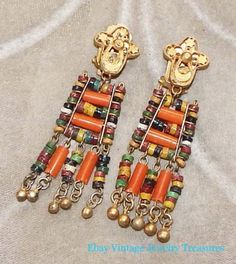 Vintage-Ethnic-Multi-Color-Brass-Chandelier-Clip-Earrings-Unique