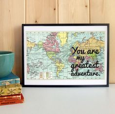 Paper Anniversary Gift For Him Framed Vintage Map by BookishlyUK, £23.50