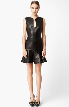 Alexander McQueen Flounce Leather Dress available at #Nordstrom