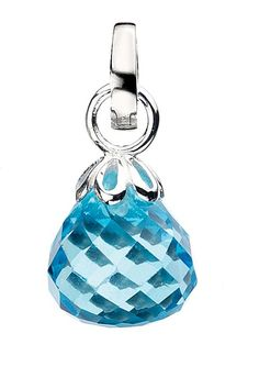 Faceted Blue Topaz drop charm from Virtue London. This teardrop shaped charm is available for £75 inc standard UK delivery from Kalila Blue. VSD048