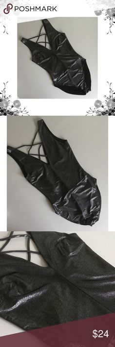 {Aqua} Black Metallic Cross-Cross Back Bodysuit Manufacturer Color is Black/Silver. New with tags. Sleeveless. 96% Polyester/4% Spandex. Metallic fabric. Criss-Cross Back. Snap closure. From Nordstrom. Bundle for discounts! Thank you for shopping my closet! B1 Aqua Tops