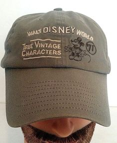 WALT DISNEY WORLD Mickey Mouse TRUE VINTAGE CHARACTERS 71 Baseball Cap Hat OLIVE #Disney #BaseballCap