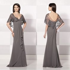 Wholesale Mother of Bride Dresses - Buy 2015 Sfani New Arrival Grey Long A-Line Mother of the Bride Dresses Chiffon Lace Embroidery Shawl V-Neck Formal Evening Dresses Custom Made, $99.69 | DHgate
