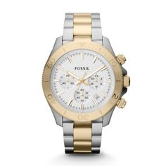 Fossil Retro Traveler Chronograph Stainless Steel Watch – Two-Tone CH2850 | FOSSIL®