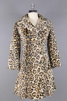 Vtg 60s Glam Cozy Leopard Princess Faux Fur Mad Men Jacket Pea Coat XS S | eBay