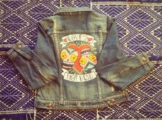 """Hand painted """"Love's not dead"""" denim jacket by littlemoonlover on Etsy"""