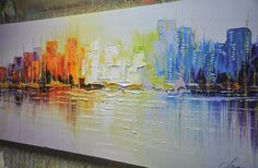 Textured Modern Palette Knife Painting byChen  Size:  24x55x1.2  [60x140x3cm]  Stretched thickness: 1.2 (3cm )  Technique: Heavy textured and impasto,by palette knife,3d effect  Framed / Stretched ( Ready to hang! )  The sides are staple-free and are painted black. It is ready to hang .  This painting is 100% handpainted original art and NOT a print.    Payment Details: we prefer paypal Please do remember to leave your Phone number during checkout, just in case you need to be reached by…