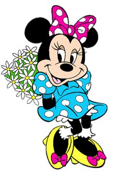 Minnie ready to surprise Mickey with a bouquet of daisies.