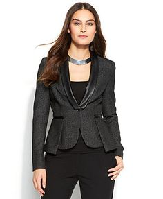 Vince Camuto Jacket, One-Button Faux-Leather Peplum Blazer