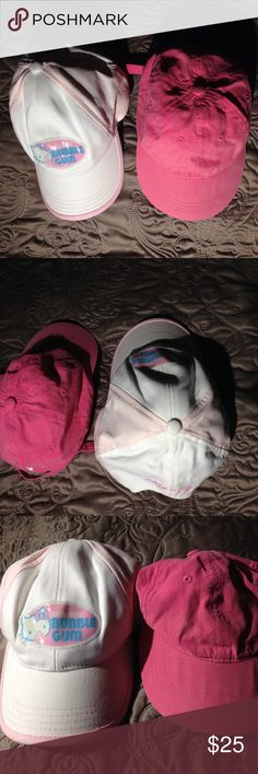 🍬 BUBBLE GUM HELLO KITTY CAP 🍬 One HELLO KITTY CAP and the other one is not.  Adjustable young child caps. Used but in good condition. Hello Kitty Accessories Hats