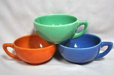 Gladding McBean California pottery Parma cups made as a promotion for the Par Soap Company