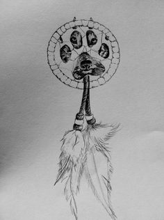 dream catcher and a wolf