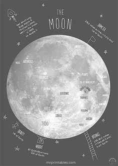 moon poster with the lunar craters, Apollo 11 landing location + interesting facts to talk about with kids.printable moon poster with the lunar craters, Apollo 11 landing location + interesting facts to talk about with kids. Free Poster Printables, Printable Wall Art, Printable Quotes, Space Printables, Printable Pictures, Printable Maps, Posters Gratis, Maps Design, You Are My Moon