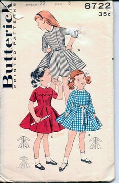 Little Girls' Princess Dress Vintage Sewing Pattern.  Pretty princess dress with contrast collar.  View A is a tab trimmed dress with three quarter sleeves and